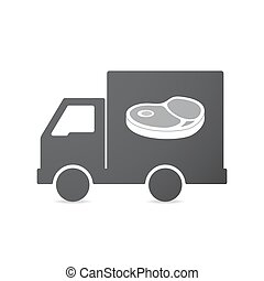 Isolated truck with a steak icon