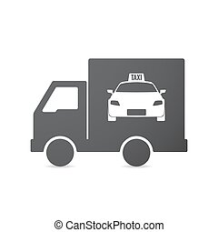 Isolated truck with a taxi icon