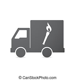 Isolated truck with a torch icon