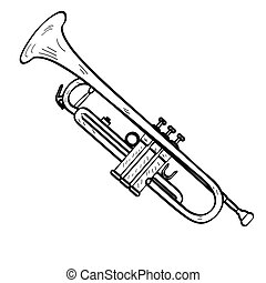 Isolated trumpet outline - Isolated outline of a trumpet,...