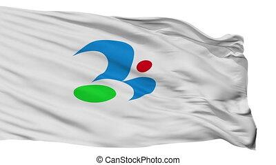 Isolated Tsukubamirai city flag, prefecture Ibaraki, Japan -...