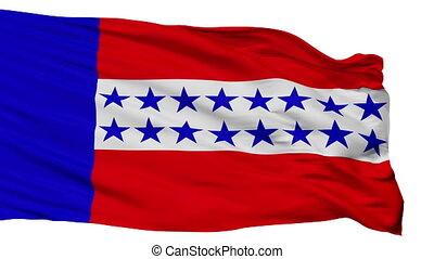 Isolated Tuamotu Islands city flag, French Polynesia -...