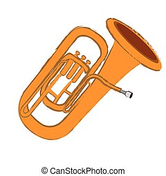 Isolated tuba instrument on a white background, Vector...