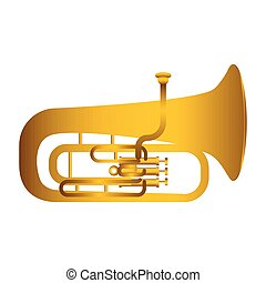 Isolated tuba. Musical instrument. Vector illustration...