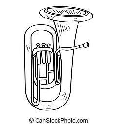 Isolated tuba outline - Isolated outline of a tuba, Vector...