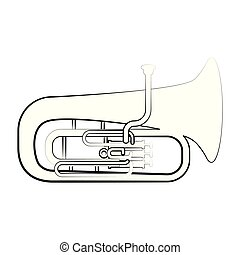 Isolated tuba outline. Musical instrument. Vector...