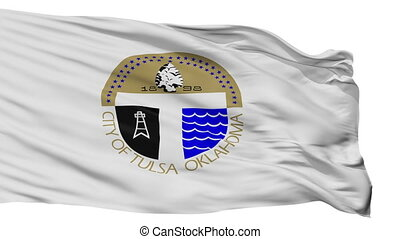 Isolated Tulsa city flag, USA - Tulsa flag, city of USA,...