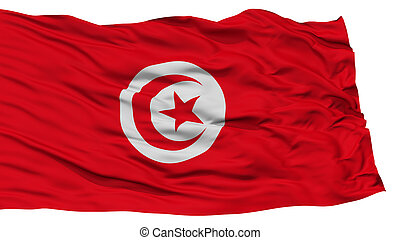 Isolated Tunisia Flag, Waving on White Background, High...