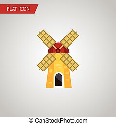 Isolated Turbine Flat Icon. Ecology Vector Element Can Be Used For Windmill, Ecology, Farm Design Concept.