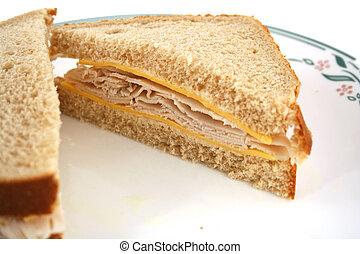 Isolated Turkey Sandwich on Whole Grain Bread
