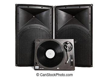 Isolated turntable and speakers - Professional vinyl record...