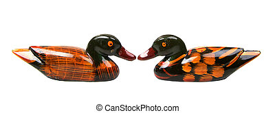 isolated two ducks face to face