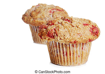 two whole wheat raspberry muffins