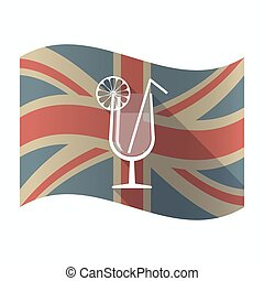 Isolated UK flag with a cocktail glass with a slice of lemon and a straw