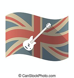 Isolated UK flag with  a four string electric bass guitar