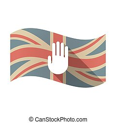 Isolated UK flag with a hand