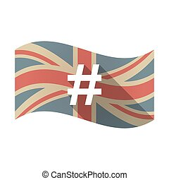 Isolated UK flag with a hash tag