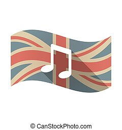 Isolated UK flag with a note music