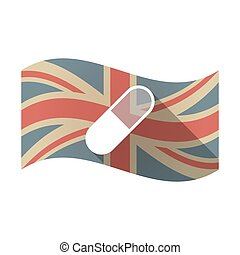 Isolated UK flag with a pill
