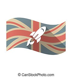 Isolated UK flag with a rocket