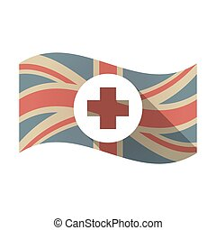 Isolated UK flag with a round pharmacy sign