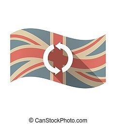 Isolated UK flag with a round recycle sign