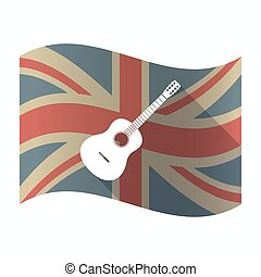 Isolated UK flag with  a six string acoustic guitar