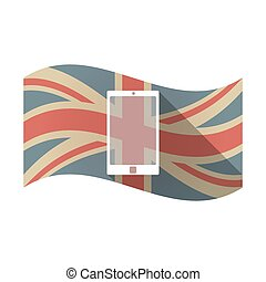 Isolated UK flag with a smart phone