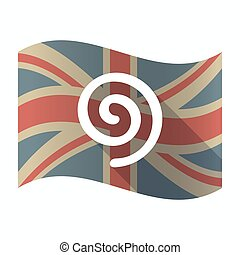 Isolated UK flag with  a spiral
