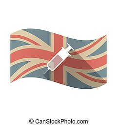 Isolated UK flag with a syringe