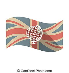 Isolated UK flag with  a table world globe