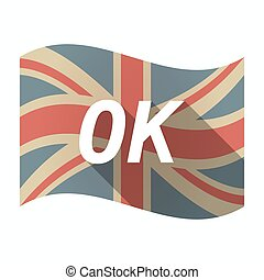 Isolated UK flag with the text OK - Illustration of an...