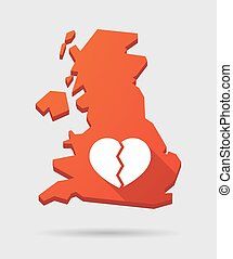 UK map icon with a heart