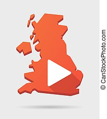 UK map icon with a play sign
