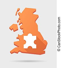 UK map icon with a puzzle piece