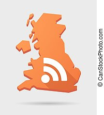 UK map icon with a RSS sign