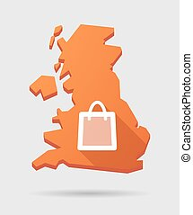 UK map icon with a shopping bag