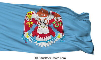 Ulaanbaatar flag, city of Mongolia, realistic animation isolated on white seamless loop - 10 seconds long (alpha channel is included)