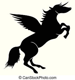 Unicorn horse wings silhouette vector