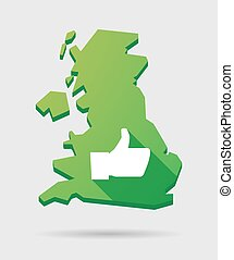 United Kingdom map icon with a hand