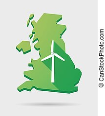 United Kingdom map icon with a wind power generator