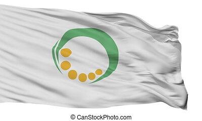 Isolated Uonuma city flag, prefecture Niigata, Japan -...