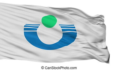 Isolated Urayasu city flag, prefecture Chiba, Japan -...