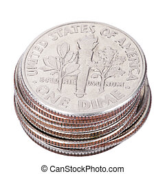 isolated US Dime Stack - A stack of American Dimes (10 cents...