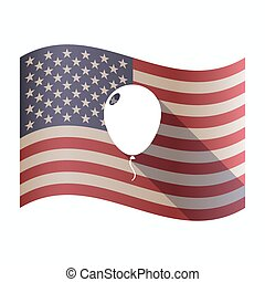 Isolated  USA flag with a balloon