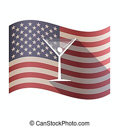 Isolated USA flag with a cocktail glass