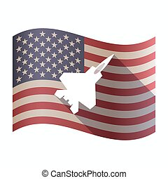 Isolated USA flag with a combat plane