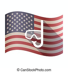 Isolated USA flag with a diving goggles