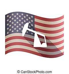 Isolated USA flag with a horsehead pump - Illustration of an...