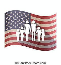 Isolated  USA flag with a large family  pictogram